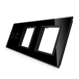 Livolo | Zwart glasplaat | Combinatie | 2+SR+SR