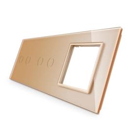 Livolo | Goud glasplaat | Combinatie | 2+2+SR