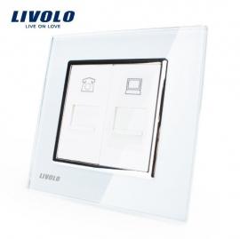 Livolo | Wit | Combinatie | Telefoon en netwerk aansluiting