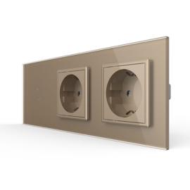 Livolo | Goud | Combinatie | Enkelpolige schakelaar met dubbele wandcontactdoos