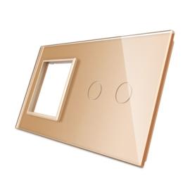 Livolo | Goud glasplaat | Combinatie | SR+2