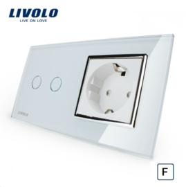 Livolo   Wit   Combinatie    Geschikt voor Fibaro    Schakelaar tweevoudig met wandcontactdoos