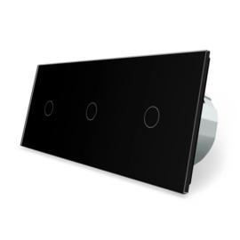 Livolo | Zwart 1+1+1 | Enkelpolige schakelaar