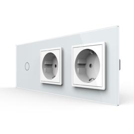 Livolo | Wit | Combinatie | Enkelpolige schakelaar met dubbele wandcontactdoos