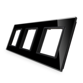 Livolo | Zwart glasplaat | SR+SR+SR