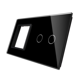 Livolo | Zwart glasplaat | Combinatie | SR+2