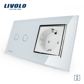 Livolo | Wit | Combinatie | Rolluik schakelaar met wandcontactdoos