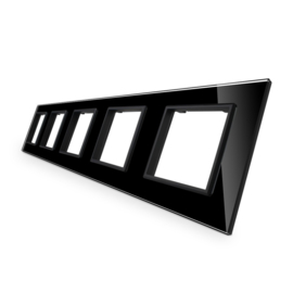 Livolo | Glasplaat | SR+SR+SR+SR+SR | Zwart