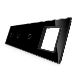 Livolo | Glasplaat | 1+1+1+D | Zwart