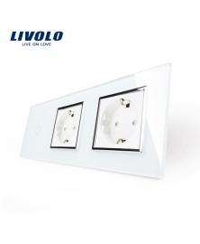 Livolo   Wit   Combinatie   Enkelpolige schakelaar met twee wandcontactdozen