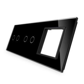 Livolo | Zwart glasplaat | Combinatie | 2+2+SR