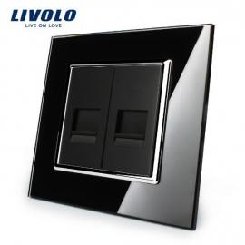 Livolo | Zwart | Netwerk aansluiting tweevoudig