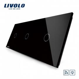Livolo | Zwart enkelpolige dimmer 1+1+1 | Afstandbediening