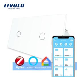 Livolo | Wit 1+1 | Enkelpolige schakelaar | Zigbee/wifi app
