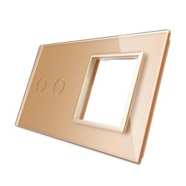 Livolo | Goud glasplaat | Combinatie | 2+SR