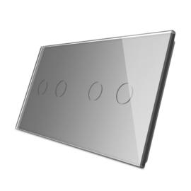 Livolo | Grijs glasplaat | Touchschakelaar | 2+2