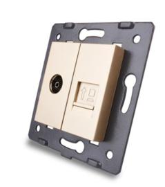Livolo | Module | SR | Combinatie  | TV en netwerk aansluiting | Goud