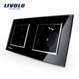 Livolo | Zwart tweevoudig | Wandcontactdoos