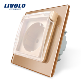 Livolo | Goud enkelvoudig | Wandcontactdoos | IP44