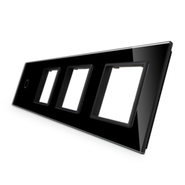 Livolo | Glasplaat | 1+D+D+D | Zwart