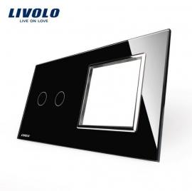 Livolo | Glasplaat | 2+D | Zwart