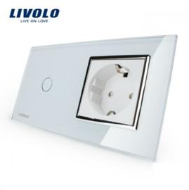 Livolo | Wit | Combinatie | Enkelpolige schakelaar met wandcontactdoos
