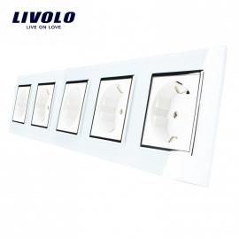 Livolo | Wit vijfvoudig | Wandcontactdoos
