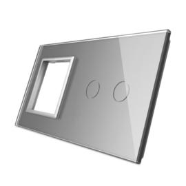 Livolo |Grijs glasplaat| Combinatie | SR+2