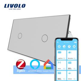 Livolo | Grijs 1+1 | Enkelpolige schakelaar | Zigbee/wifi app