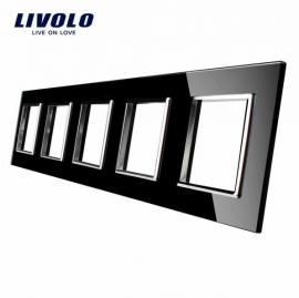 Livolo | Glasplaat | D+D+D+D+D | Zwart