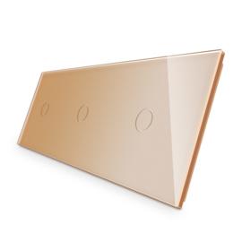 Livolo | Goud glasplaat | Touchschakelaar | 1+1+1