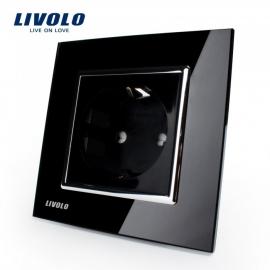 Livolo | Zwart enkelvoudig | Wandcontactdoos