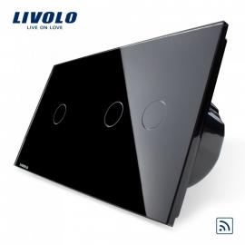 Livolo | Zwart 1+2 | Enkelpolige + serieschakelaar | Afstandbediening