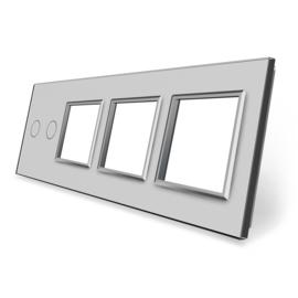 Livolo | Grijs glasplaat | Combinatie | 2+SR+SR+SR