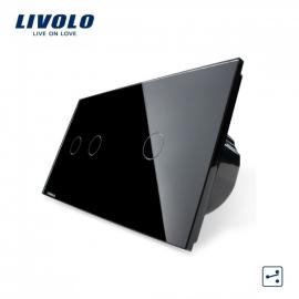 Livolo | Zwart 2+1 | Wisselschakelaar