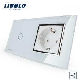 Livolo | Wit | Combinatie | Wisselschakelaar met wandcontactdoos