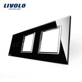 Livolo | Glasplaat | 2+D+D | Zwart