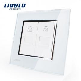 Livolo | Wit | Telefoon aansluiting tweevoudig