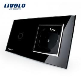 Livolo | Zwart | Combinatie | Enkelpolige schakelaar met wandcontactdoos