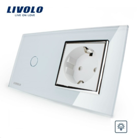 Livolo | Wit | Combinatie | Dimmer schakelaar met wandcontactdoos