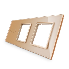 Livolo | Goud glasplaat | Combinatie | 2+SR+SR
