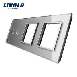 Livolo | Glasplaat | 2+D+D | Grijs