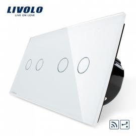 Livolo | Wit 2+2 Wisselschakelaar | Afstandbediening