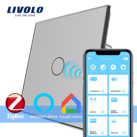 Livolo | Grijs | Enkelpolige schakelaar | Zigbee/wifi app