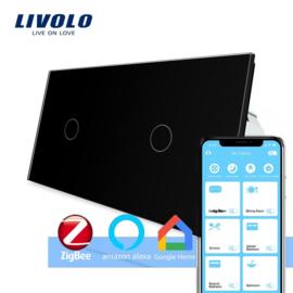 Livolo | Zwart 1+1 | Enkelpolige schakelaar | Zigbee/wifi app