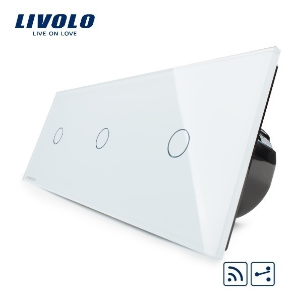 Livolo   Wit 1+1+1 Wisselschakelaar   Afstandbediening