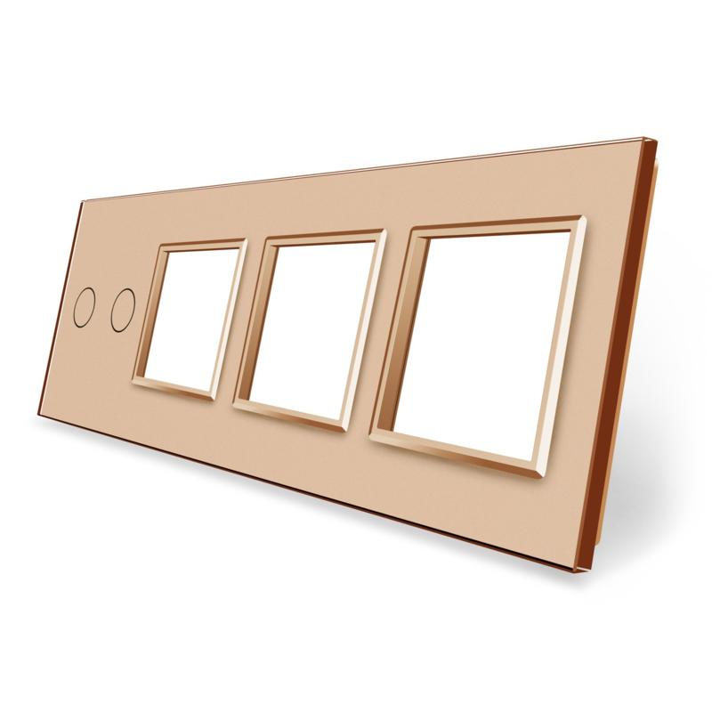 Livolo | Goud glasplaat | Combinatie | 2+SR+SR+SR