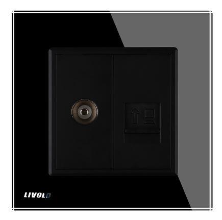 Livolo | Zwart | Combinatie | TV en netwerk aansluiting