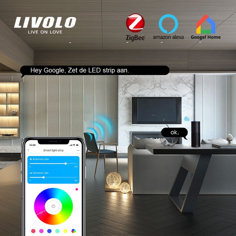 Livolo   Verlichting   Dimbare RGB LED strip   2 meter   Zigbee/Wifi App