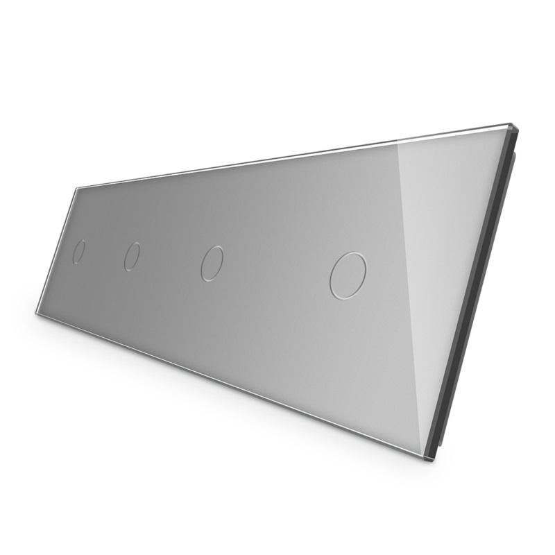 Livolo   Grijs glasplaat   Touchschakelaar   1+1+1+1